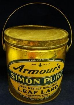 Antique Leaf Lard Tin